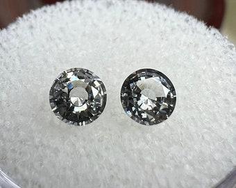 0.98 carats   Natural White Sapphire Pair   4.8 x 4.77 x 2.7 mm   Round Shape   Loose Gemstone
