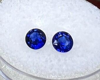 0.83 carats   Natural Blue Sapphire Pair   4.23 x 4.2 x 2.63 mm   Round Shape   Loose Gemstone