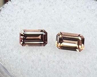 0.68 carats   Natural Orange Sapphire Pair   5.02 x 3.02 x 2.05 mm   Ocatagon Shape   Loose Gemstone