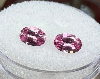 1.04 carats   Natural Pink Sapphire Pair   6.02 x 3.97 x 2.48 mm   Oval Shape   Loose Gemstone