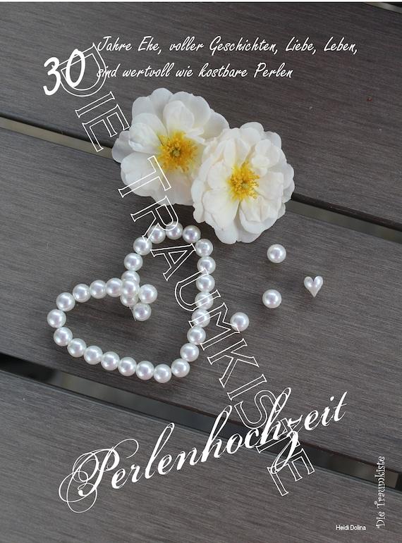 Perlenhochzeit Karte Perlenherz Rosen Td0089