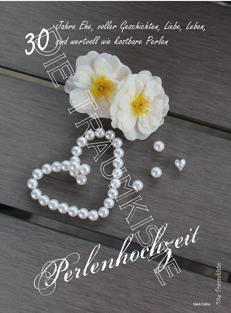 Perlenhochzeit Karte Perlenherz Rosen Td0089 Etsy