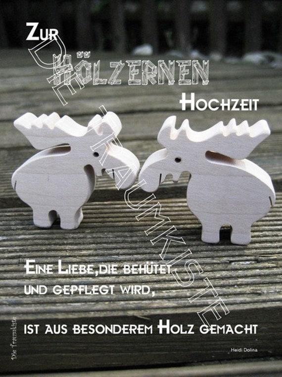 Holzerne Hochzeit Karte Elche Td0018 Etsy