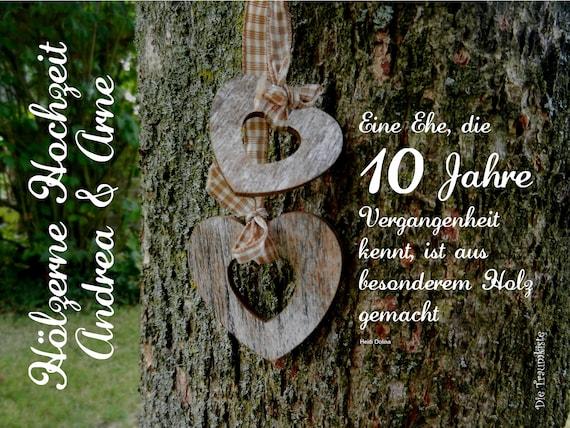 Hölzerne Hochzeit Karte Herzen Baum Td0044