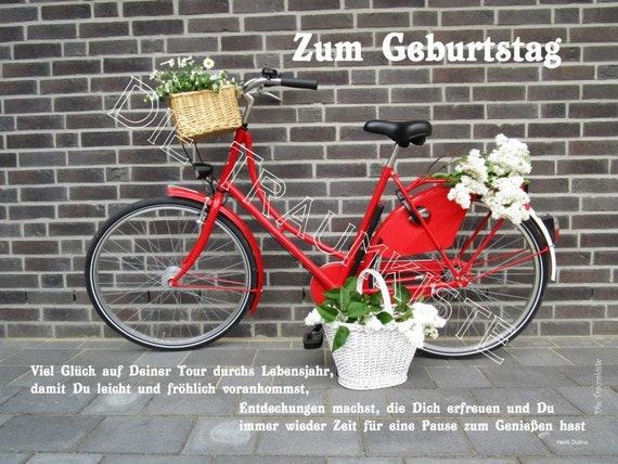 Geburtstagskarte Fahrrad rot TA0066   Etsy