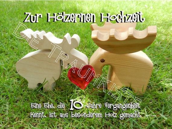 Holzerne Hochzeit Karte Elchpaar Herz Td0034
