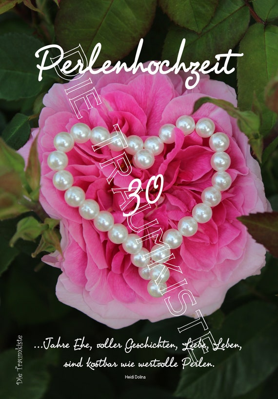 Perlenhochzeit Karte Herz Rose Td0081