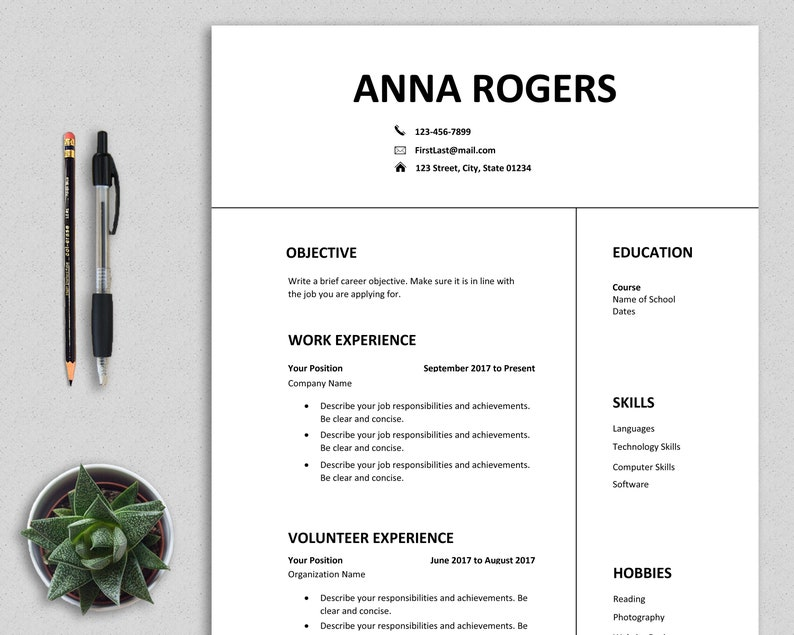 Resume Template Word, first job, CV template, one page resume, high school  student, teenagers, professional, clean, modern, simple, Anna