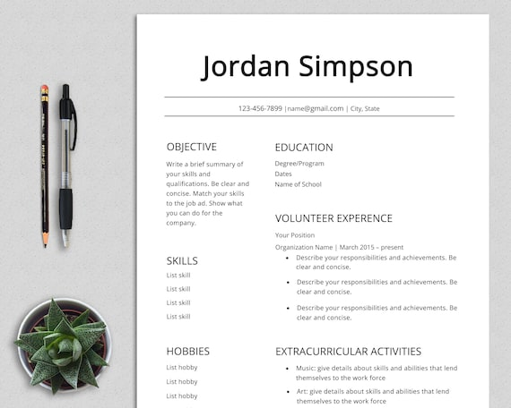 First Cv Template Resume Teenagers No Experience High Etsy