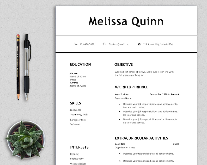 Student Resume Template Word Simple Modern Clean Easy One Page CV First Job Digital Download PDF Teenagers Melissa