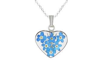 Forget-Me-Not Necklace, Medium Heart, Transparent