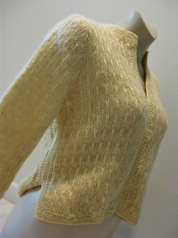 Mohair Sweater Yellow Wool Jumper Handstitched Lin