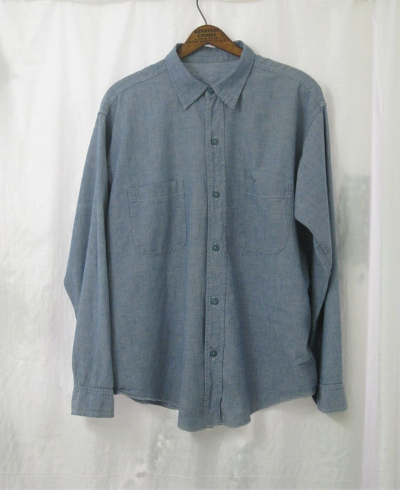 Shirt Chambray Navy Prison Shirt All Cotton Size M