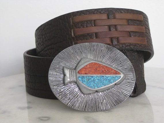 1970s YSL Yves Saint Laurent Belt Buckle Mens 36 … - image 1