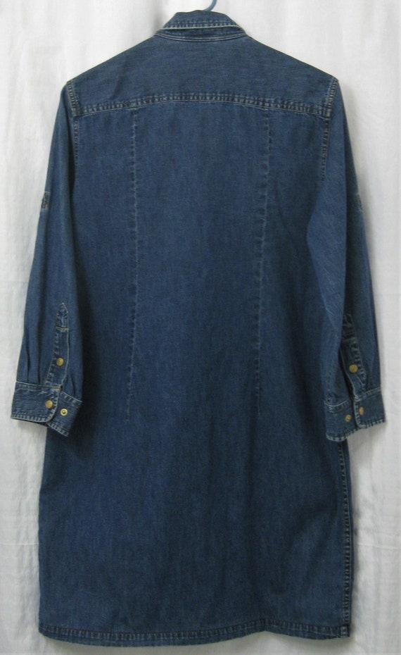 Ralph Lauren Jean Dress ShirtDress Medium 1980s - image 3