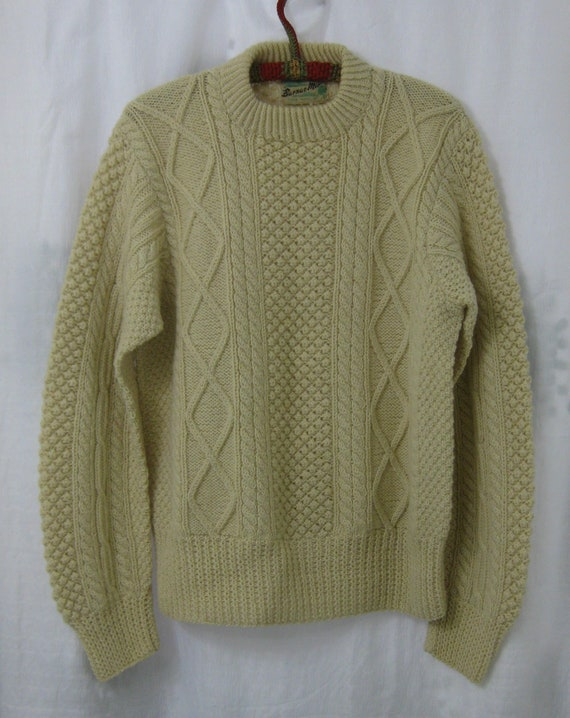 1950s Donegal Hand Knit Fishermans Irish Wool Swea