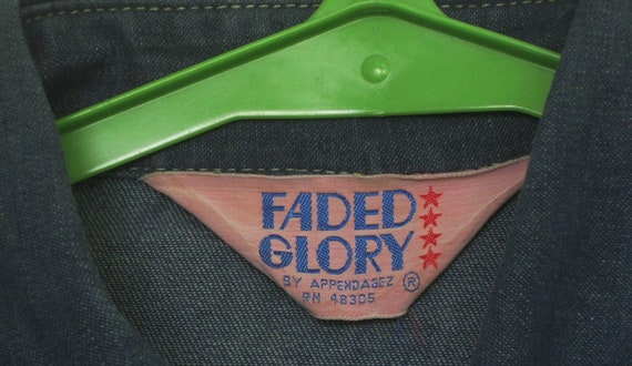 Jean Jacket Shirt 1970s Faded Glory Denim Cotton … - image 3