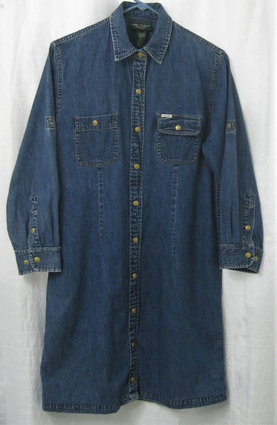 Ralph Lauren Jean Dress ShirtDress Medium 1980s - image 2