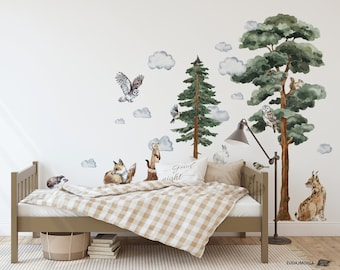 BACKWOODS II Wall decal for kids / big set forest animals / nursery woodland / forest tree / watercolor