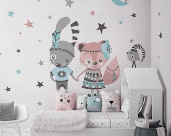 Wandsticker Kinderzimmer Hasen, Geschwister, Wandtattoo Babyzimmer