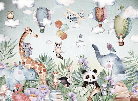 Jungle Safari Wallpaper For Children With Animals Self Adhesive Wall Decor Nursery Wallpaper