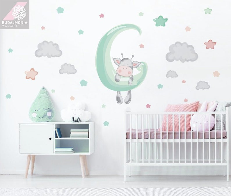 wall decal for kids moon clouds cow nursery decor baby | etsy