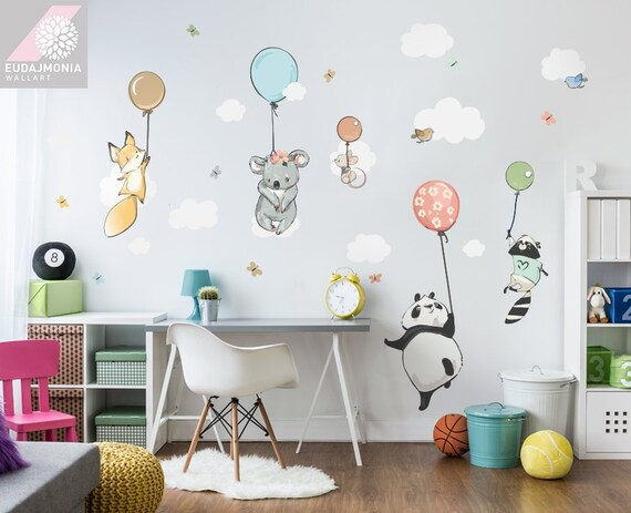 Kinderzimmer Wandtattoo Set Mit Tiere Wandtattoo Ballon