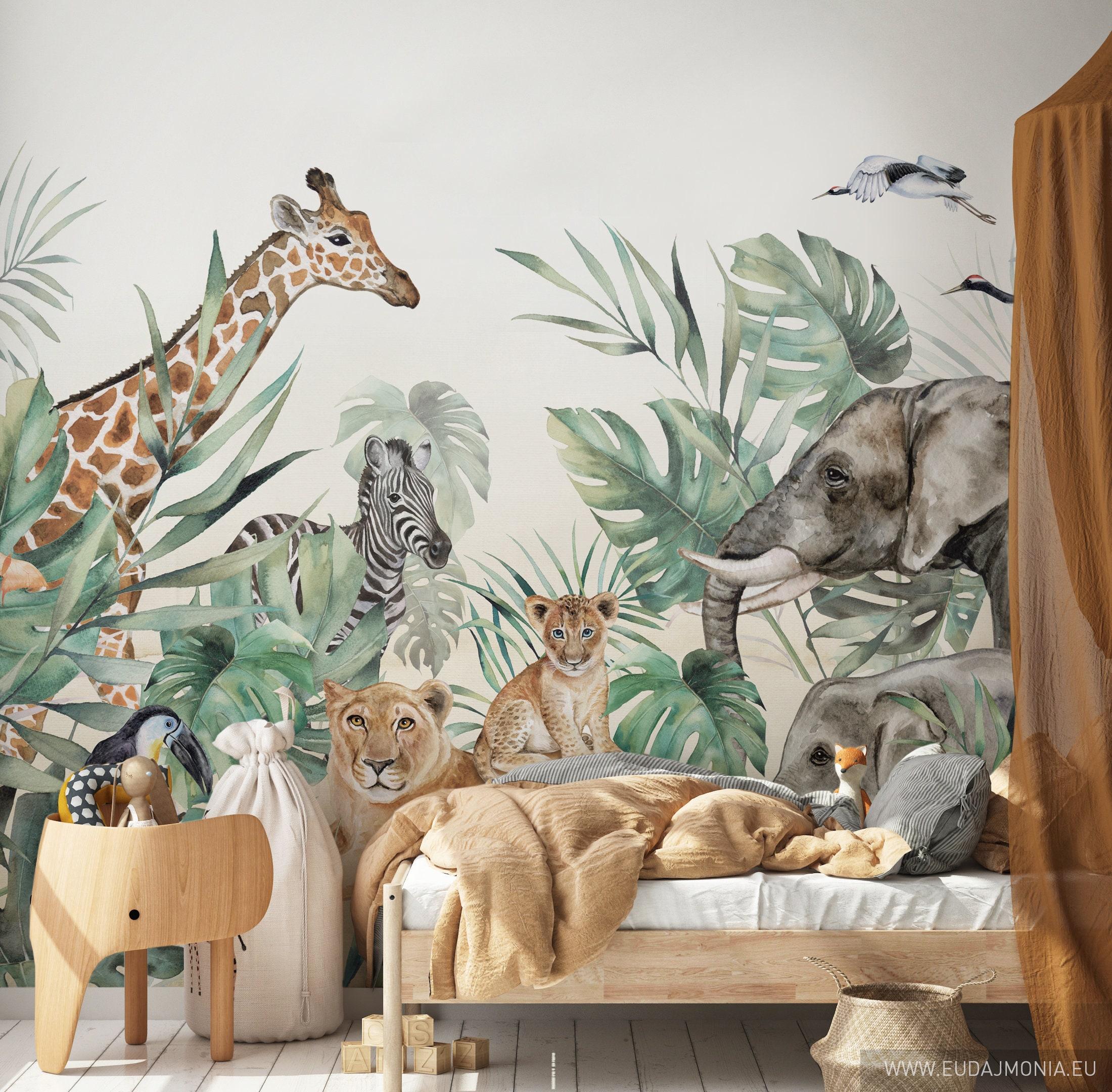 305x204 Fototapete Kinderzimmer Dschungeltiere Safari Tiere Wandbild Tapete ca