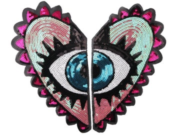 850cd34ebe8e3 36 32.5cm big sequin heart eye patches