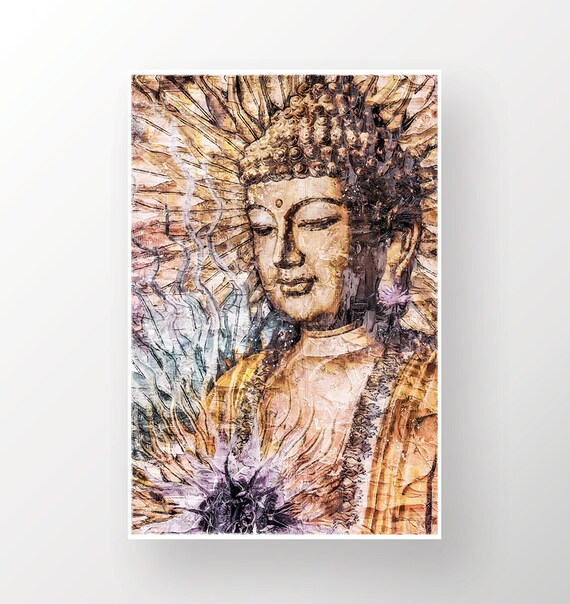 BUDDHA PAINTING LARGE FINE ART GICLEE PRINT ON CANVAS