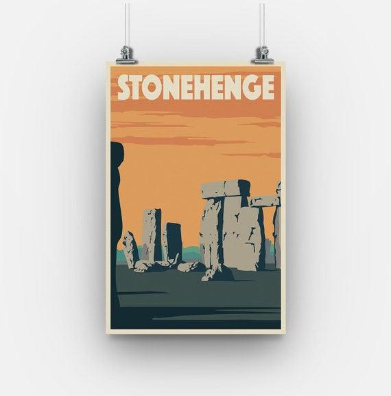 Wiltshire Stonehenge Travel Poster Minimalistic Art Deco