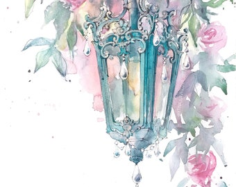Original watercolor drawing The lantern with roses
