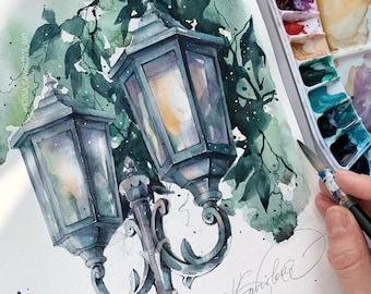"""Original watercolor drawing """"The lantern"""""""