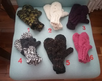 Children's Hand Knit Cable Winter Mittens