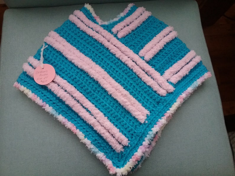 Ultra Blue Children/'s Crocheted Poncho Size 2T