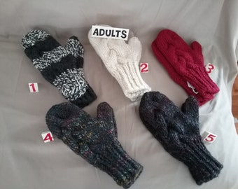 Adults Hand Knit Cable Winter Mittens