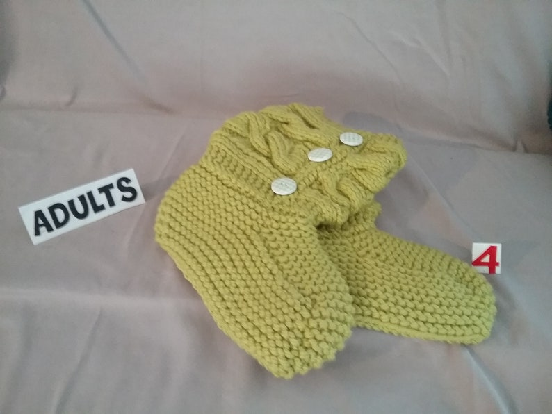 Adults Hand Knit Cable Slippers