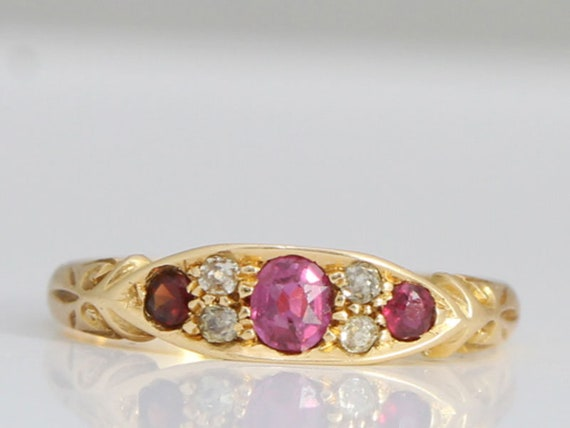 Pretty Edwardian Ruby and Diamond Edwardian Engage