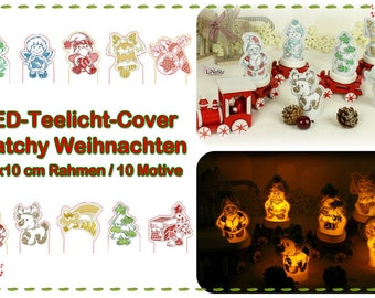 ITH LED Tealight Cover Patchy Christmas (10x10)