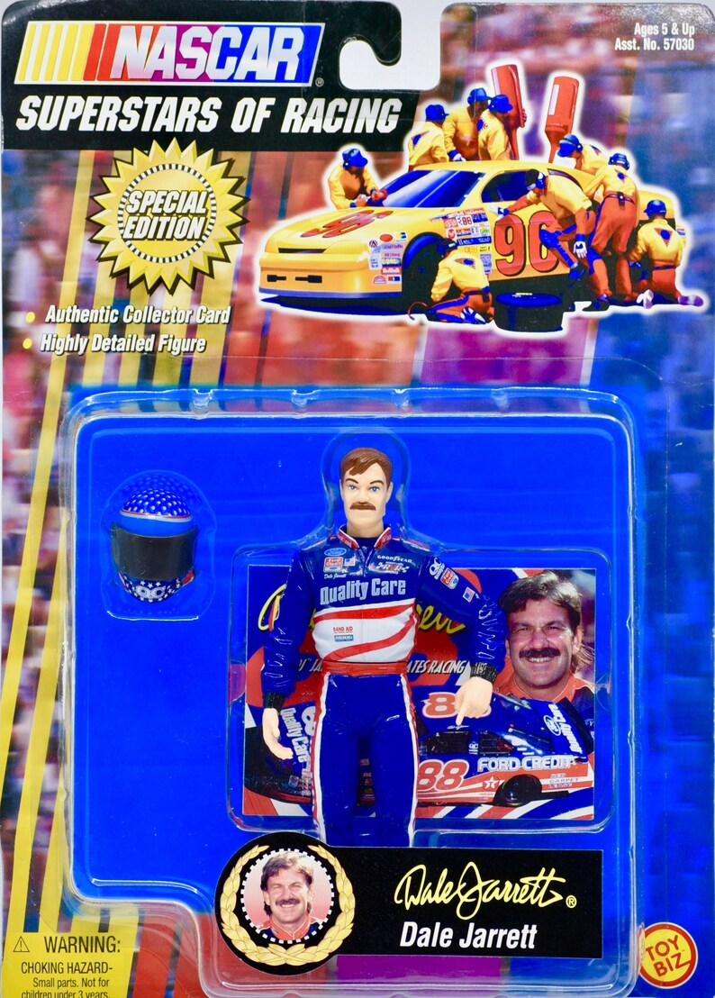 Dale Jarrett Action Figure w Authentic Trading Card and Helmet 1998 Special Edition Collectible Toy Biz  NASCAR Superstars of Racing