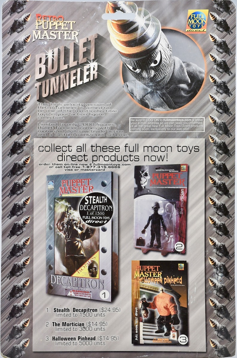 New Bullet Tunneler Action Figure 1 of 2000 Retro Puppet Master Full Mon Toys Direct 2000 Rare Collectible