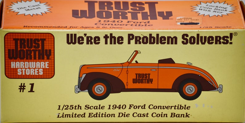 TrustWorthy Hardware Stores 1995 1:25 Scale Die Cast Metal Bank w Key 1940 Ford Convertible w Rumble Seat Liberty Classics Inc