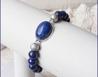 3b63a7e2b1ae Edelstein Armband Lapislazuli   Edelstahl blau silber