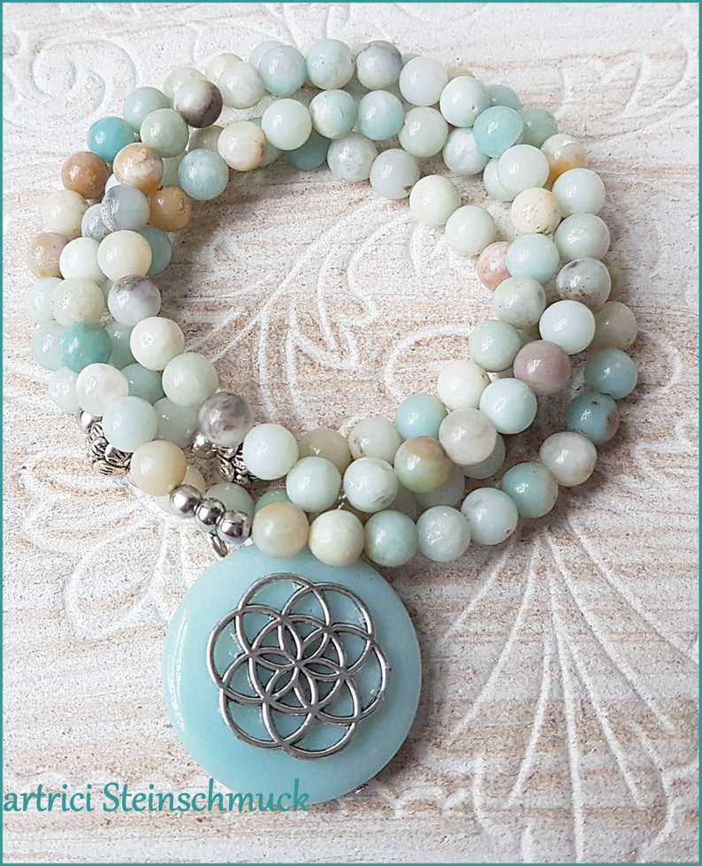 Gemstone Y-chain MALA prayer necklace Venus flower Amazonite natural stainless steel lotus flower