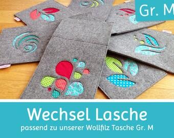 Change flap matching the wool felt bag, shoulder bag gr.M