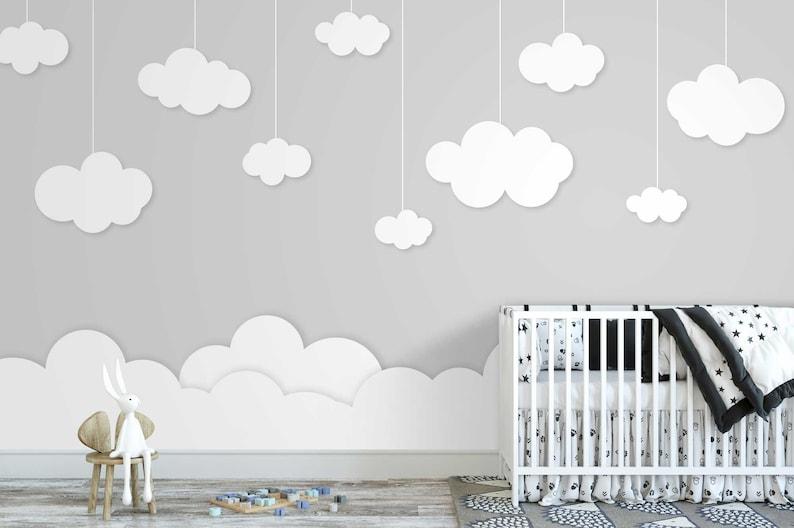 Tapete Fototapete Kinderzimmer Baby Wolken Mobile | Etsy