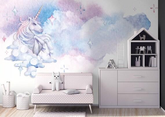 Tapete, Fototapete, Kinderzimmer, Einhorn, Aquarell, Wolken, Babyzimmer,  Sterne, Glattvlies, Zeichnung, Wunschfarbe