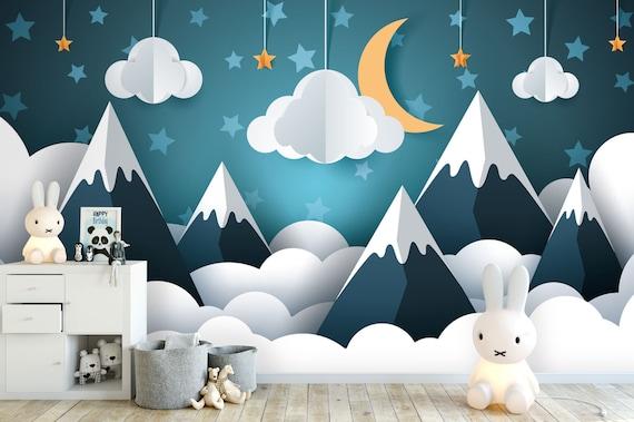 Tapete, Fototapete, Kinderzimmer, Babyzimmer, Berge, Mond, Wolken, Mobile,  Sterne, Glattvlies, Wunschformat
