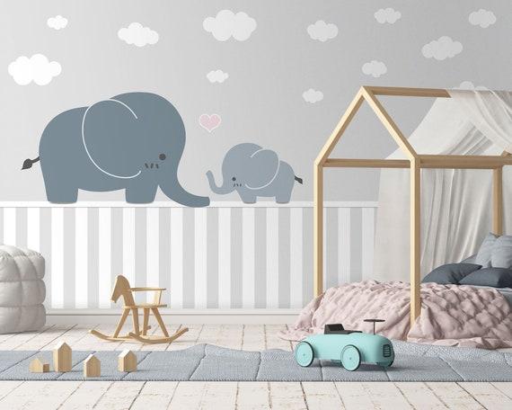 Tapete Fototapete Kinderzimmer Elefanten Familie Wolken Sockel Babyzimmer Glattvlies Wunschfarbe Motivtapete