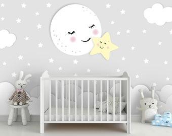 wallpaper, photo wallpaper, nursery, moon, star, baby room, cloud, stars, smooth fleece, desired color, motif wallpaper